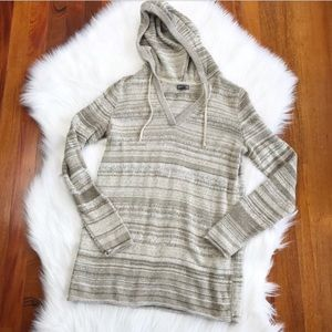 {Eddie Bauer} Tan Knit Hooded Sweater